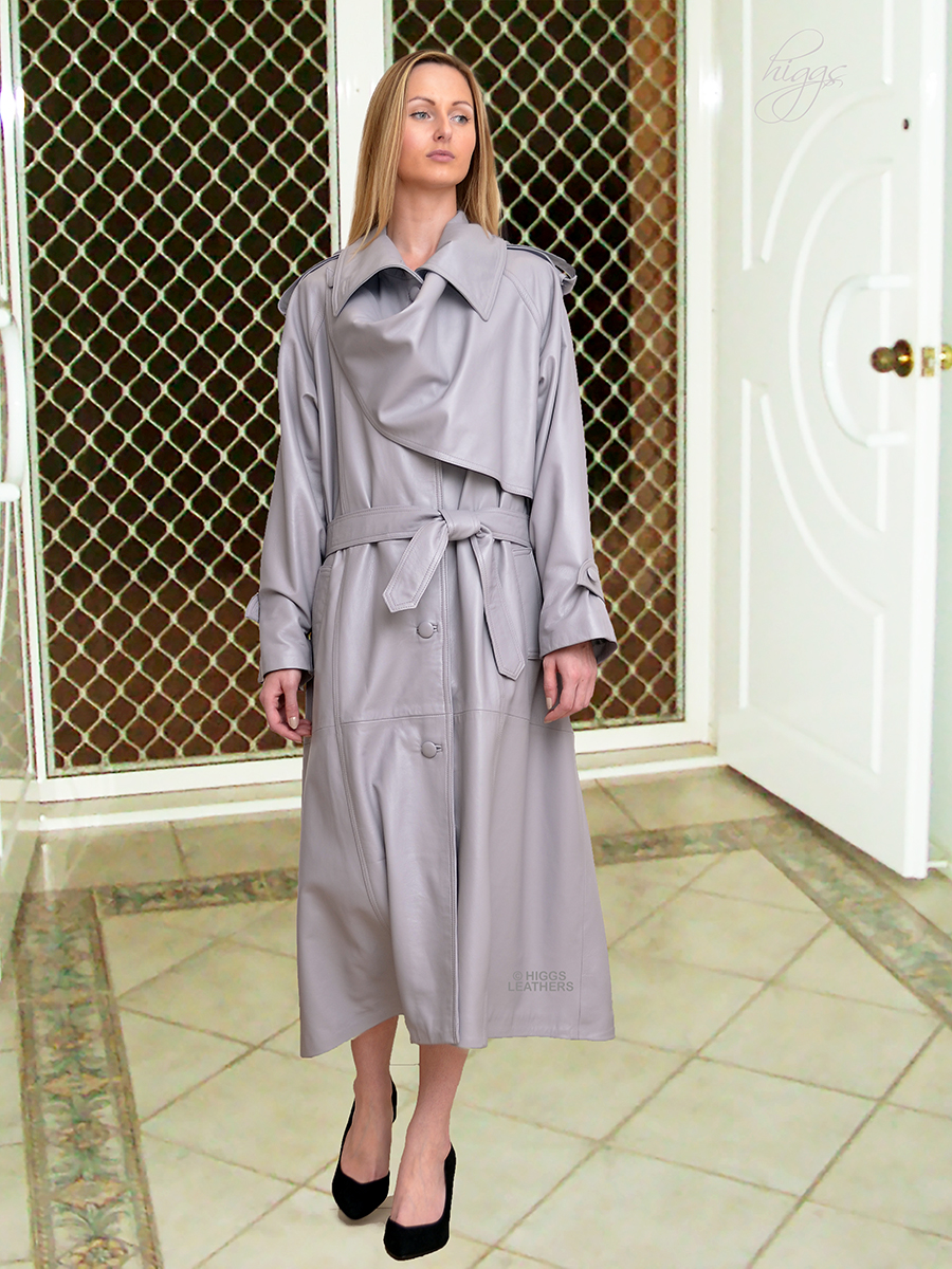 Higgs Leathers {}  Charlotte (ladies Grey Leather Designer Trench Coats) Special occasion?  Special coat!