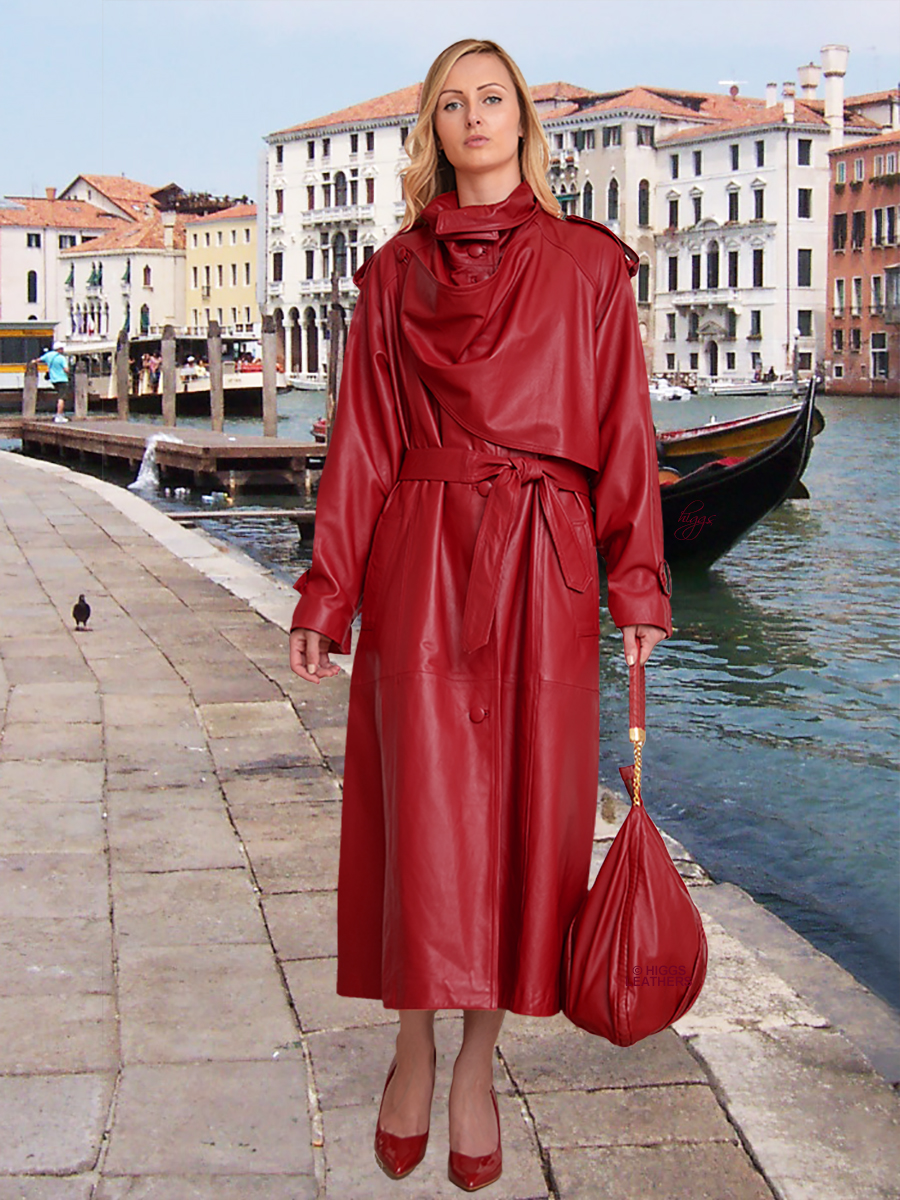 Higgs Leathers {}  Charlotte (ladies Designer Red Leather Trench Coats) Dream Location - Dream Coat!
