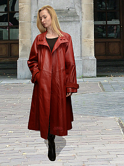 Higgs Leathers SOLD!  Diana (ladies swingback Red Leather coat)