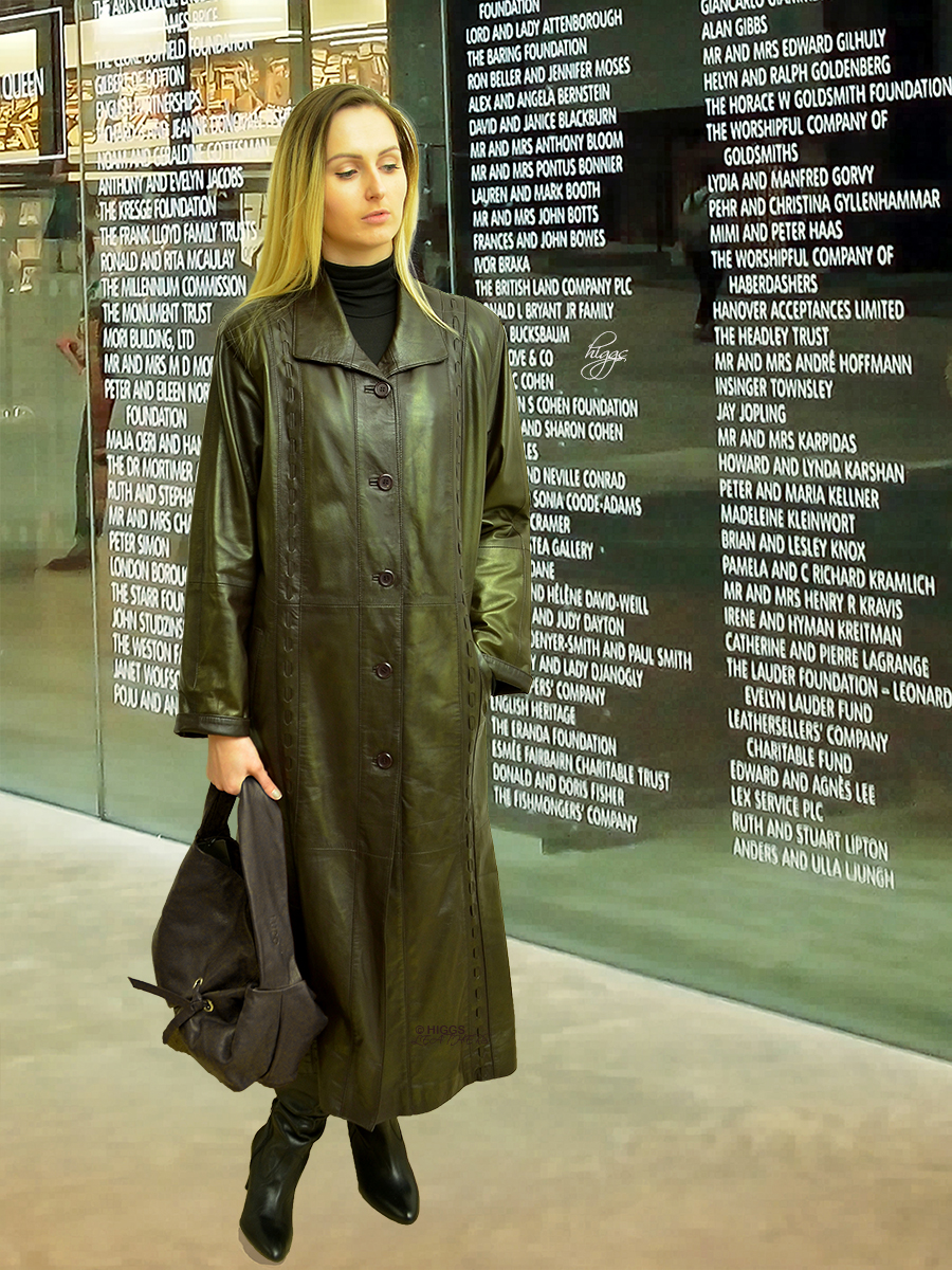 Higgs Leathers {NEW!}  Harriet (ladies Dark Brown long Leather coats)