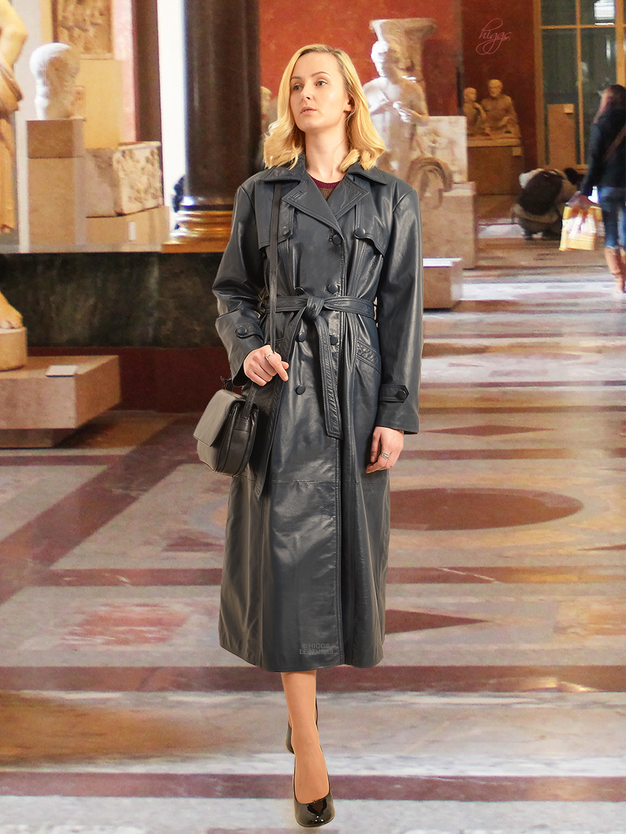 Higgs Leathers {ONE ONLY SAVE £200!}  Kathleen  (Ladies Navy Leather DB Trench coats)