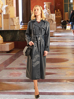 Higgs Leathers ONE ONLY SAVE £200!  Kathleen  (Ladies Navy Leather DB Trench coats)