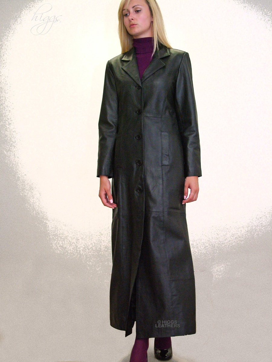 Higgs Leathers {LAST ONE!}  Lenita (ladies long Black Leather coats) LAST ONE!