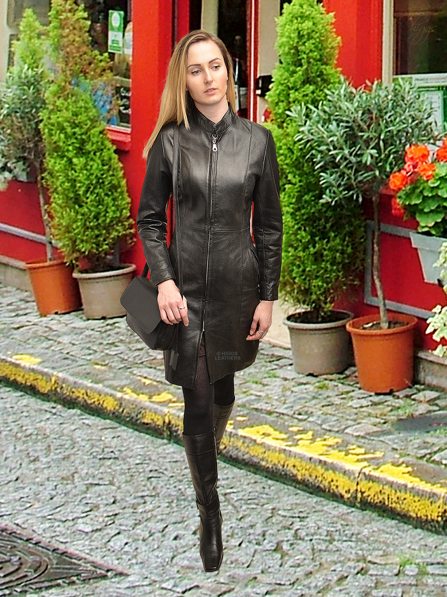 Higgs Leathers {ONE ONLY HALF PRICE!}  Magna (knee length ladies black leather coat)