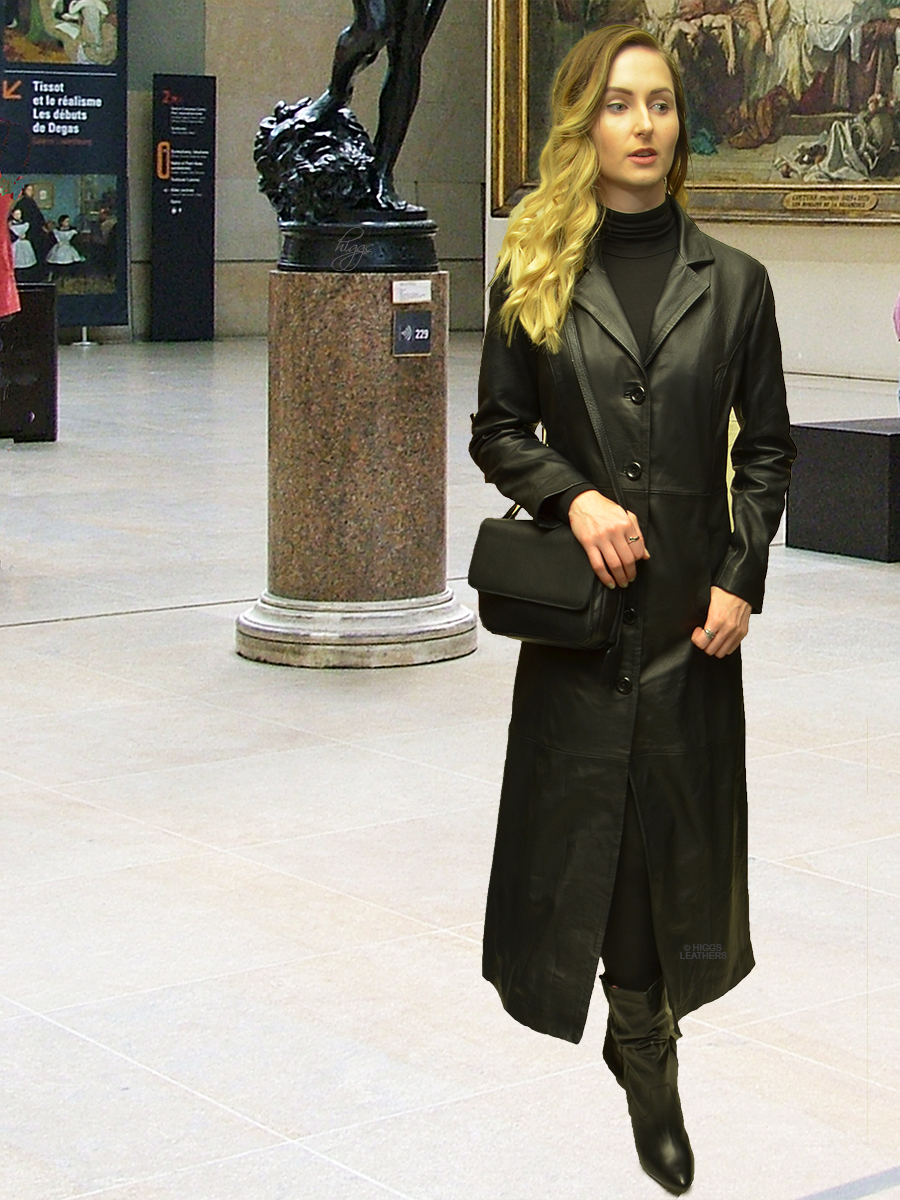 Higgs Leathers {NEW STOCK!}  Natalie (ladies Black Leather long coat)