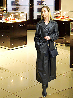 Higgs Leathers SOLD!ONE ONLY SAVE £400!  Trini (Designer Black Leather Trench coat)