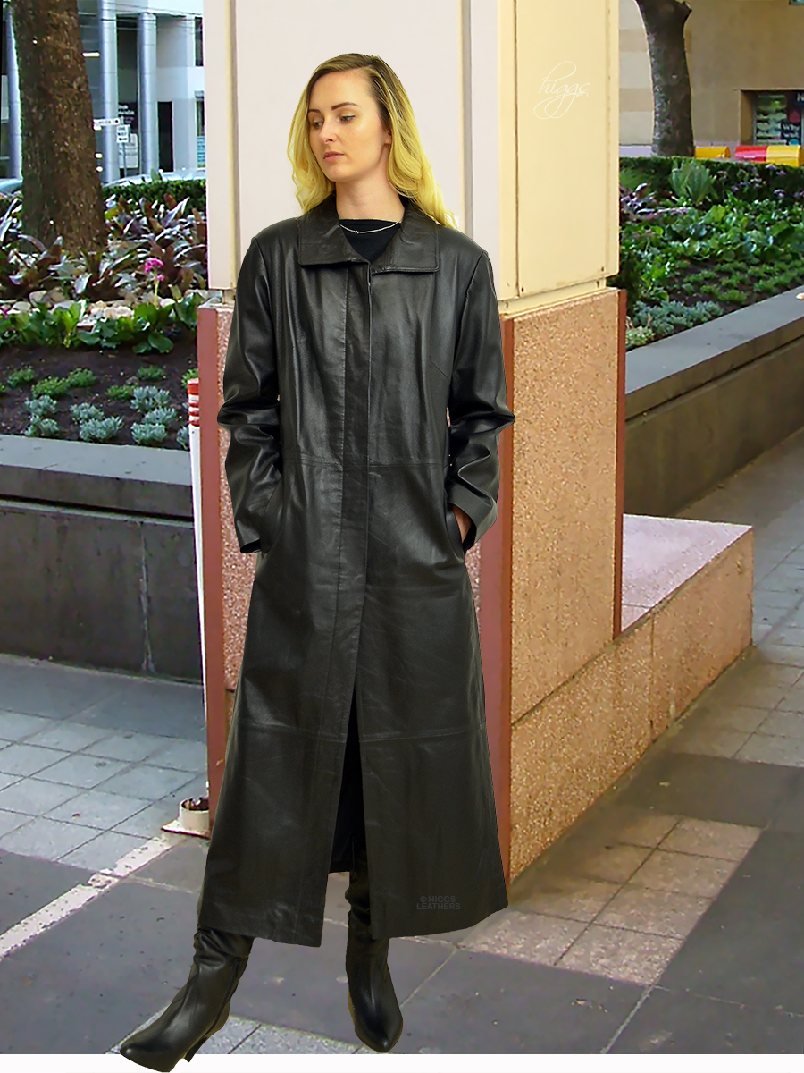 Higgs Leathers {SOLD! - HALF PRICE!}  Nicolita (ladies long Black Leather coat)