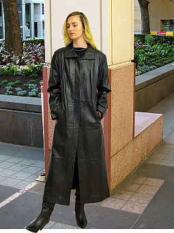 Higgs Leathers SOLD! - HALF PRICE!  Nicolita (ladies long Black Leather coat)