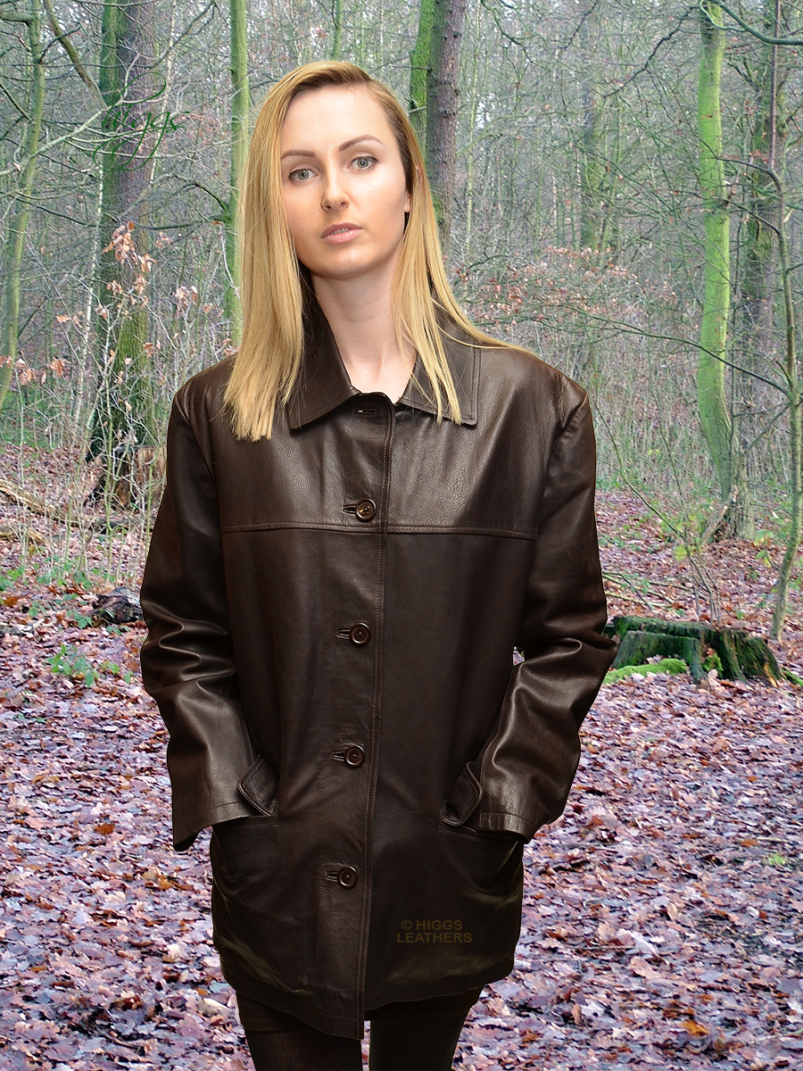 Higgs Leathers {ONE ONLY HALF PRICE!}  Becca (ladies Brown Leather Box jacket)
