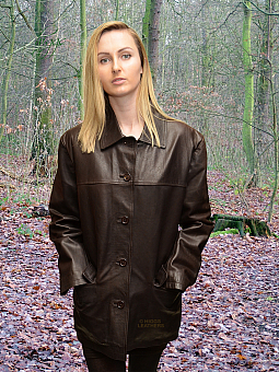 Higgs Leathers ONE ONLY HALF PRICE!  Becca (ladies Brown Leather Box jacket)