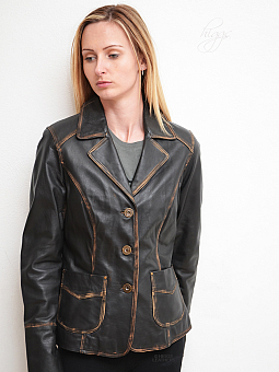 Higgs Leathers LAST ONE!  Binky (ladies Black Leather blazer jacket)