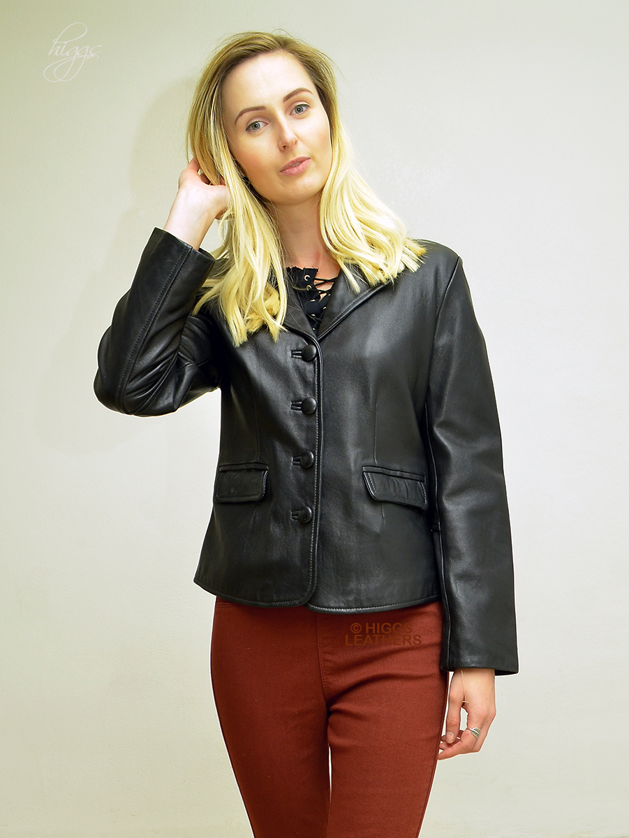 Higgs Leathers {ALL SOLD!}  Blanche (ladies Black Leather blazer jacket) SOLD - EXTRA SMALL SIZE!