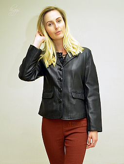 Higgs Leathers LAST ONE HALF PRICE!  Blanche (ladies Black Leather blazer jacket)