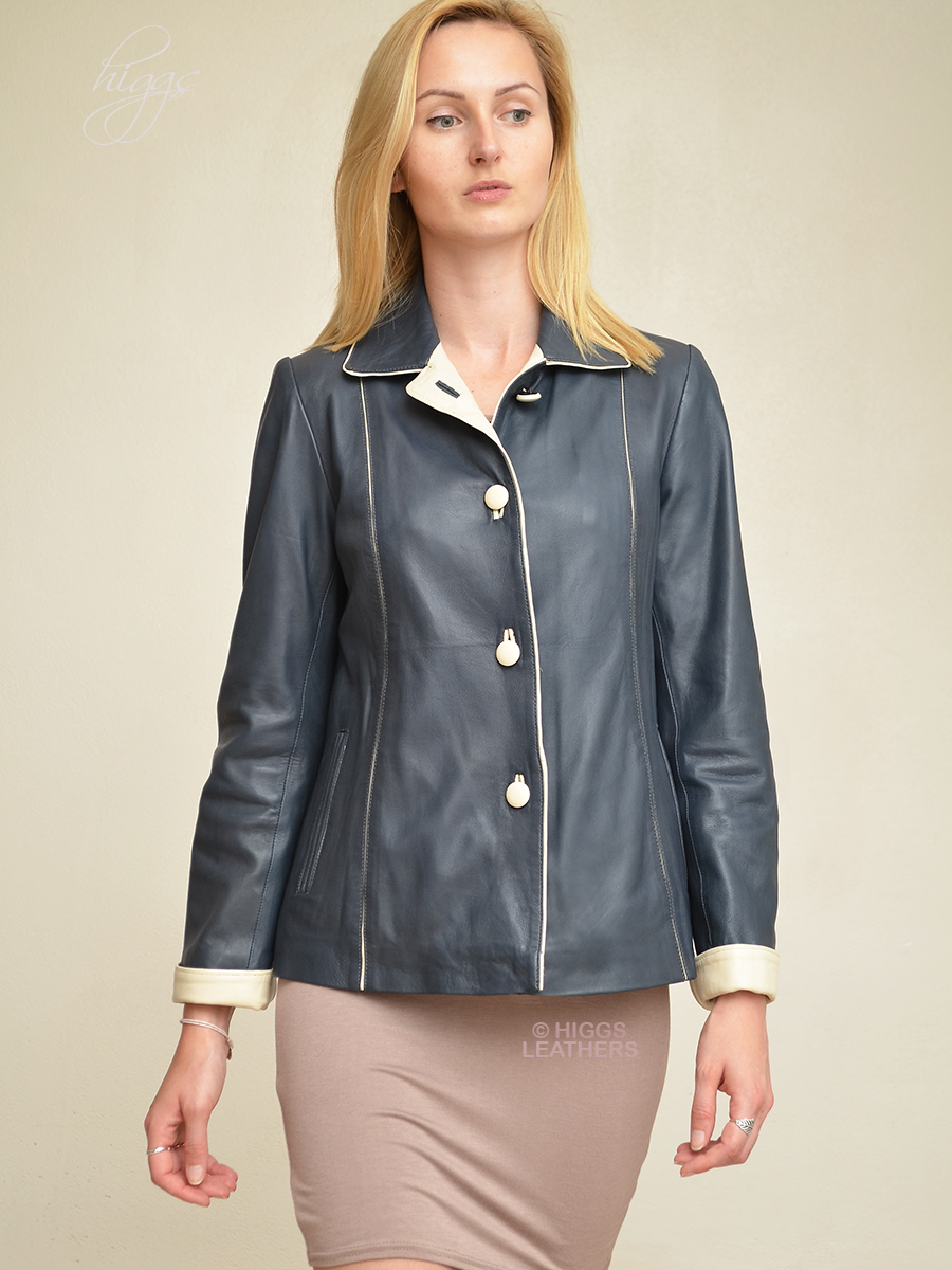 Higgs Leathers {NEW!}  Chris (Special quality women's blue and ivory leather jackets)