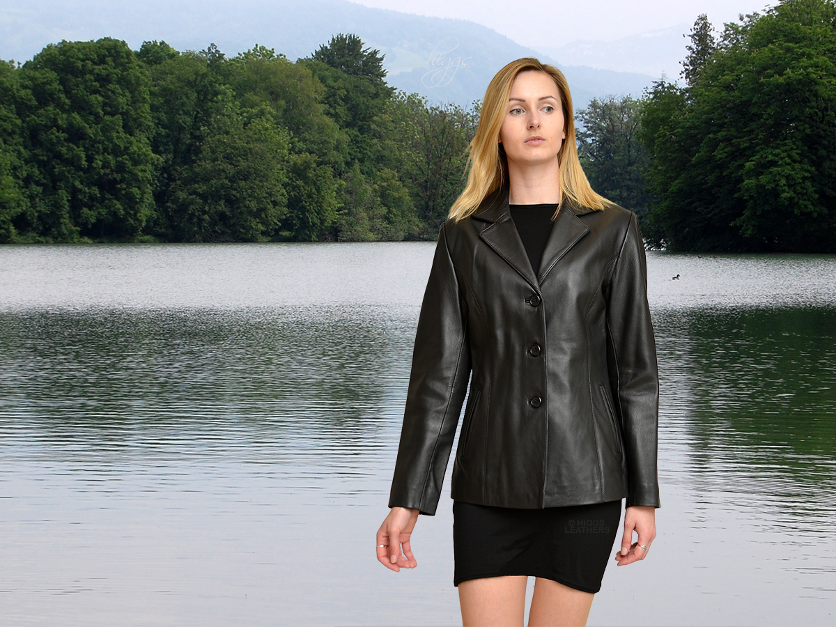 Higgs Leathers Last Few! Daisy (ladies Black Leather blazer jackets)