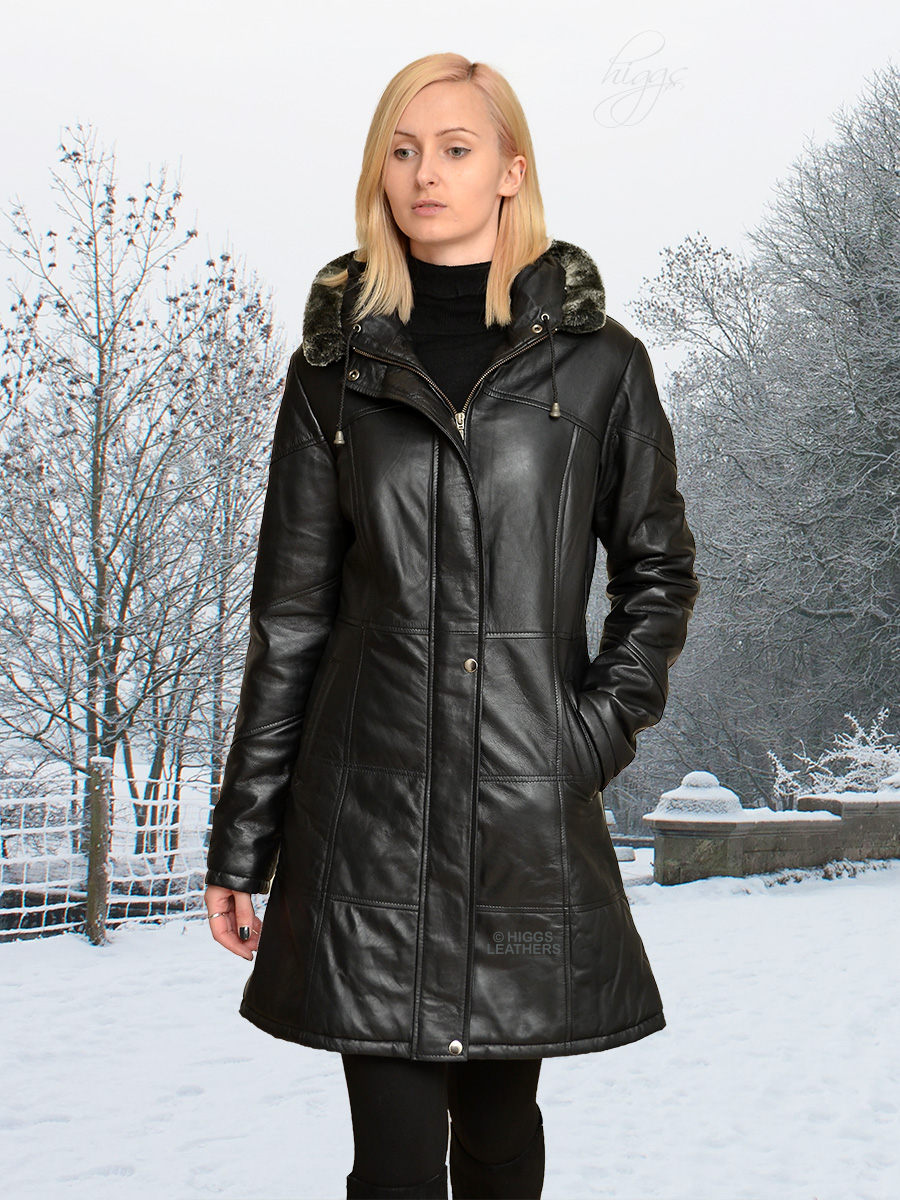 Higgs Leathers {NEW!}  Deena (ladies Hooded Black Leather Duffel coats) From our selection of Leather Duffel Coats for women!