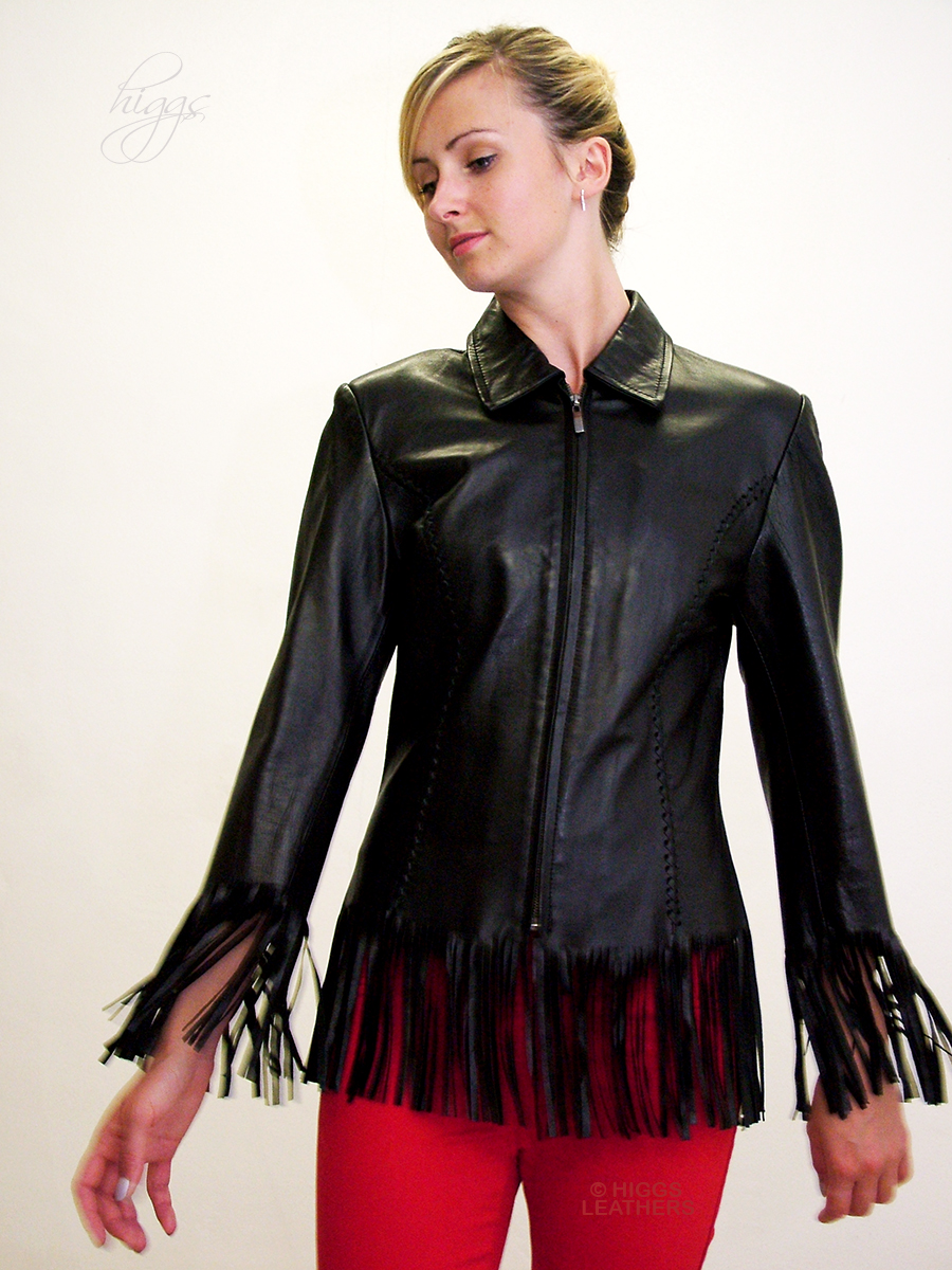 Higgs Leathers {SOLD HALF PRICE!}  Francey (ladies fringed Black Leather jacket) ONE ONLY - HALF PRICE!