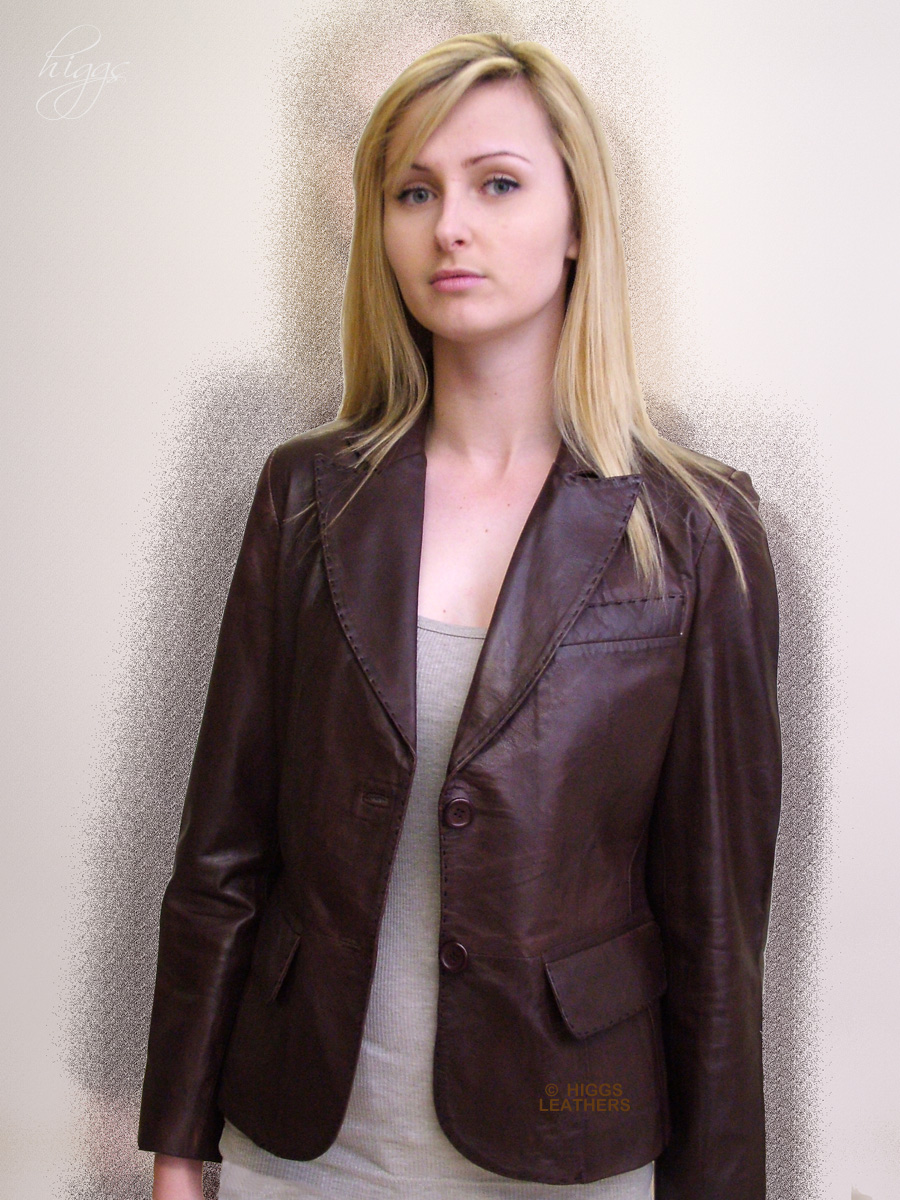 Higgs Leathers Izzie (ladies Brown leather Blazer jackets) Superb!  Saddle stitched leather Blazer jackets!