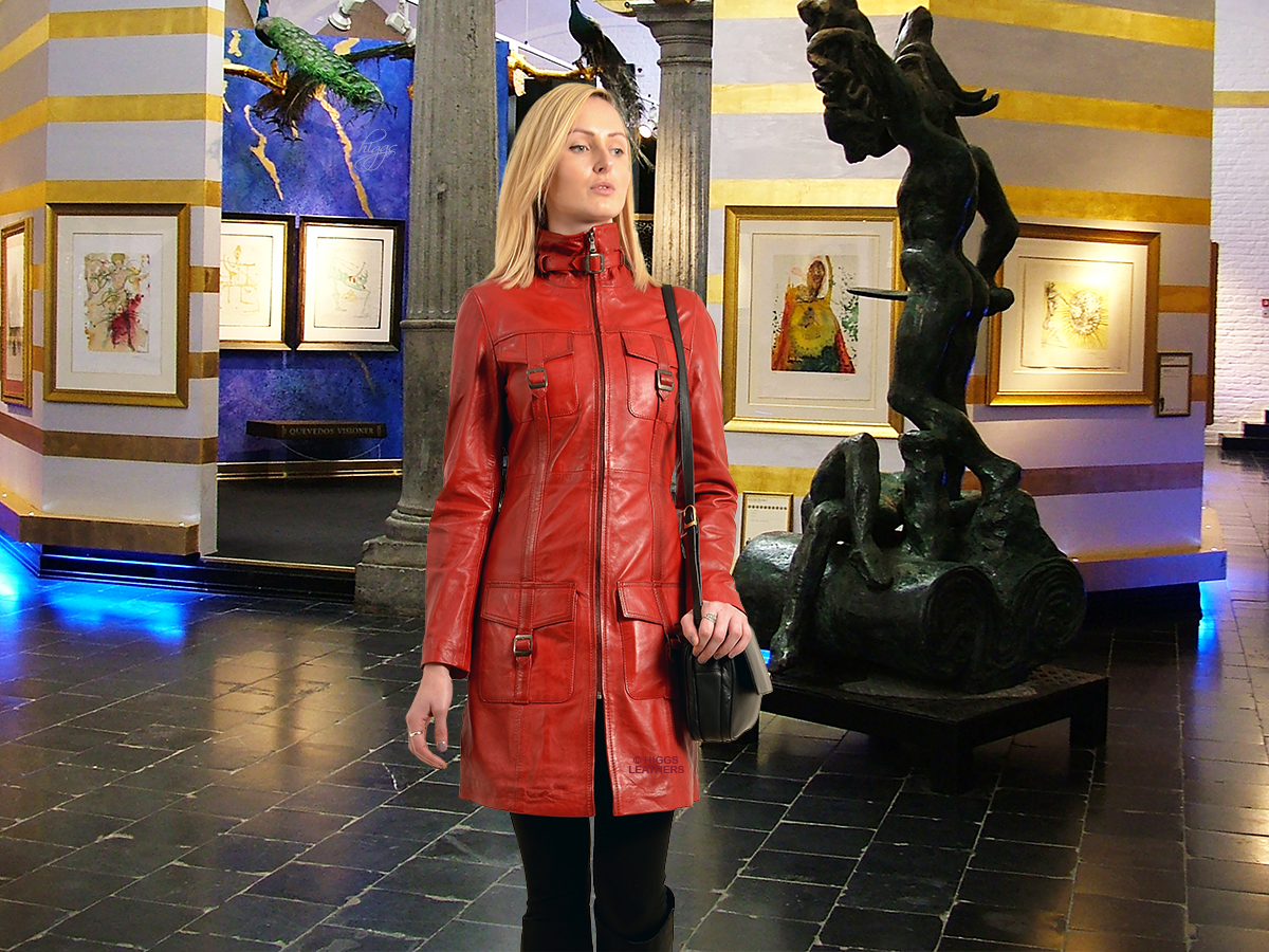 Higgs Leathers {LAST TWO!}  Jacqui (ladies fitted Red Leather coats) From our wonderful range of three-quarter length Leather coats for women!
