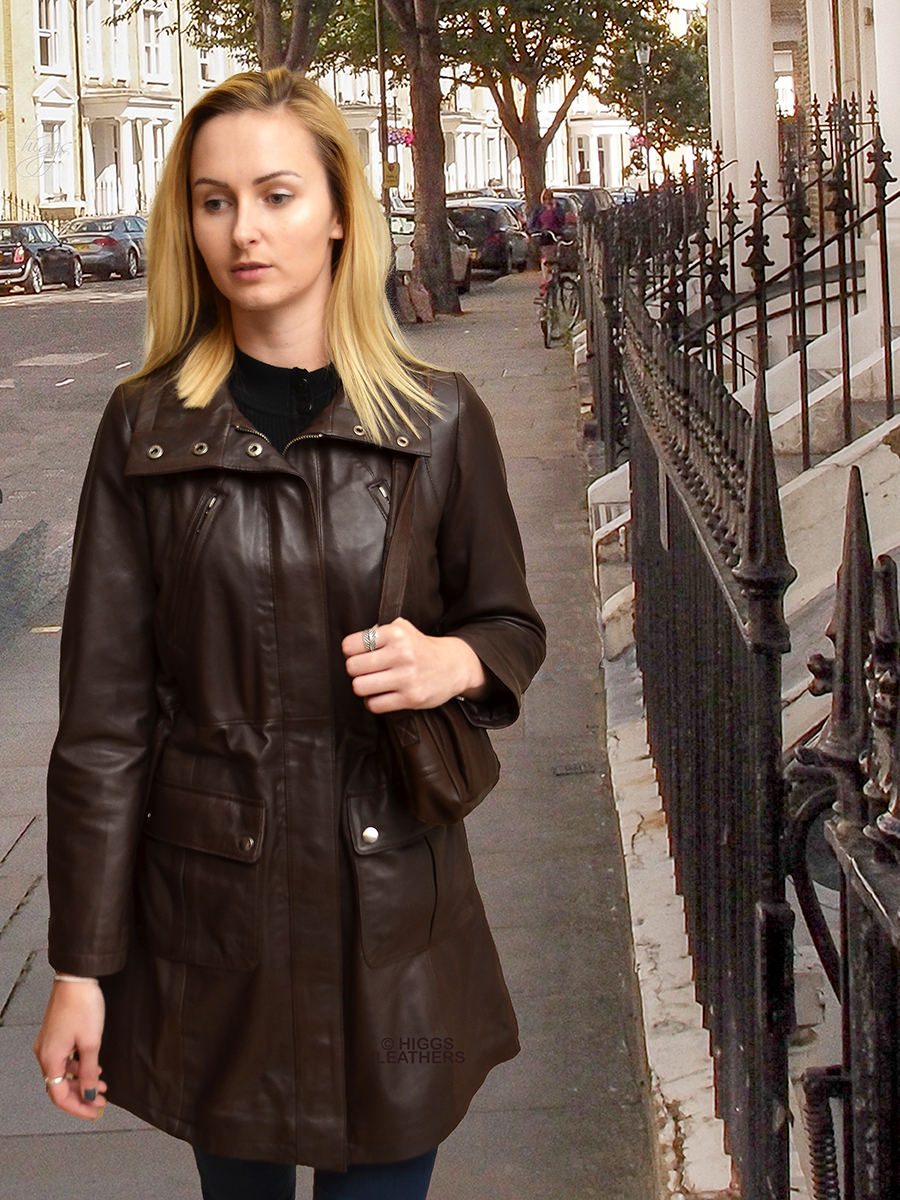 Higgs Leathers {NEW!}  Palomas (ladies Brown Leather Parka coats) From our selection of Leather Parka coats for women!