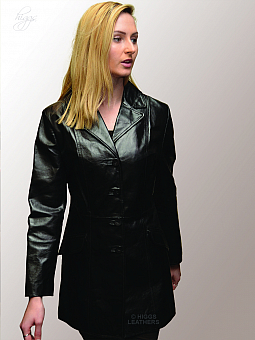 Higgs Leathers SOLD!  Petia (ladies fitted Black Leather coat)