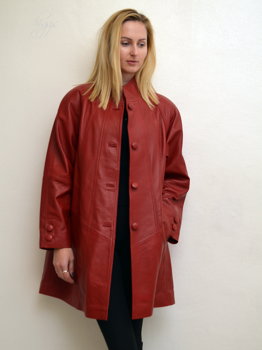 Higgs Leathers Shirley (ladies Red Leather swingback coats) SIZES FROM 36' TO 52' BUST!