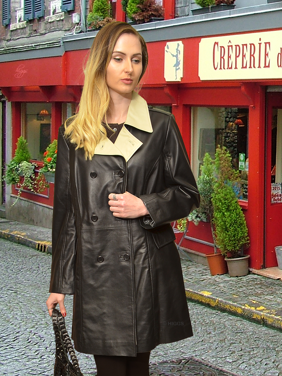 Higgs Leathers {PLUS SIZES HALF PRICE!}  Sophie (ladies black and ivory leather coat) SIZES 46' and 48' BUST