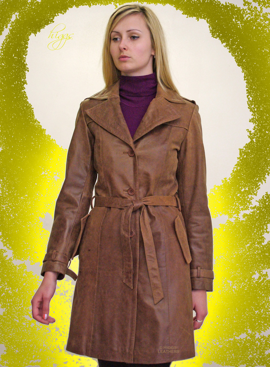 Higgs Leathers  LAST ONE! Tanzee (ladies leather trench 3/4 coats) UNDER HALF PRICE!