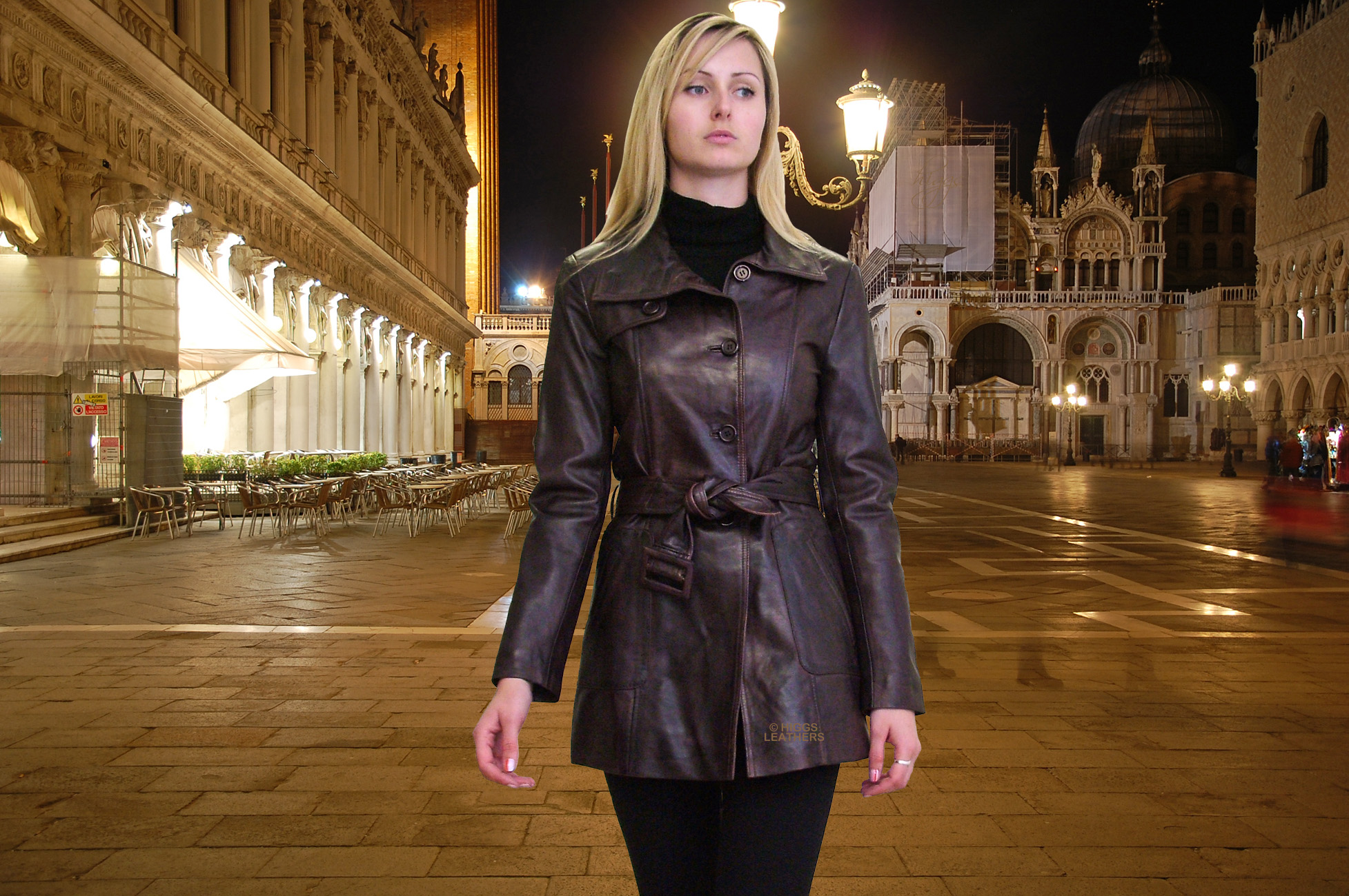 Higgs Leathers Trish (ladies Leather Trench coats) Venice by night?