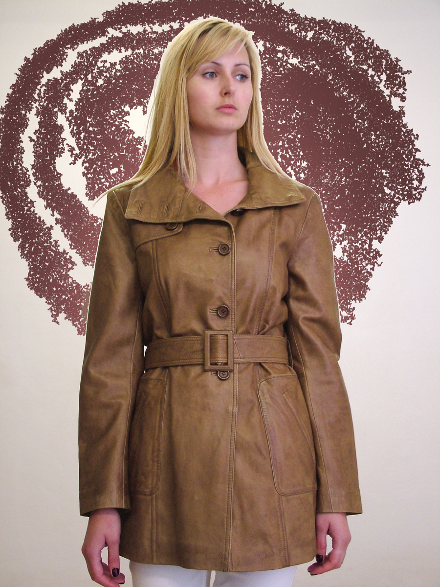Higgs Leathers Trish (ladies Tan Leather Trench coats)
