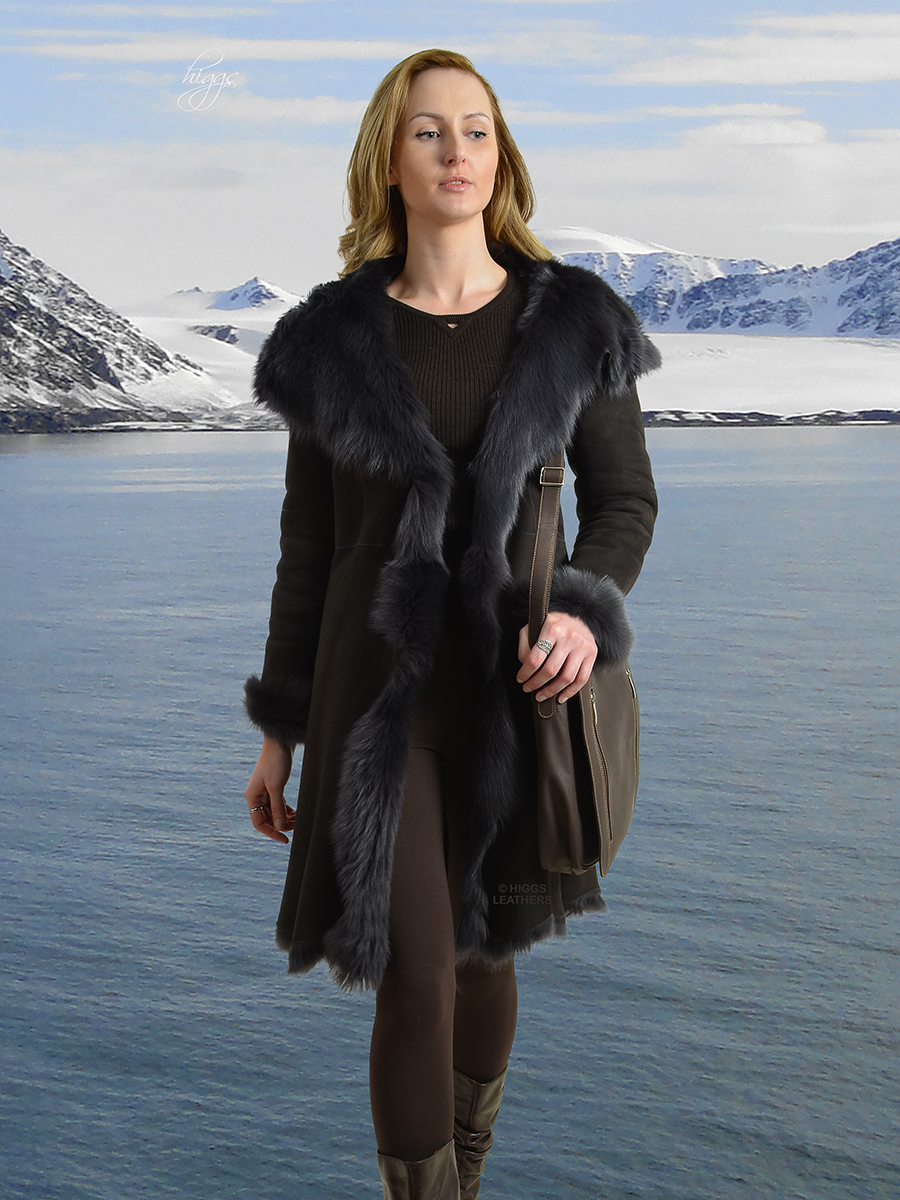 Higgs Leathers {SAVE £250!}  Alanas (ladies hooded Toscana Shearling coat) TANTALISING TOSCANA SHEARLING COAT!