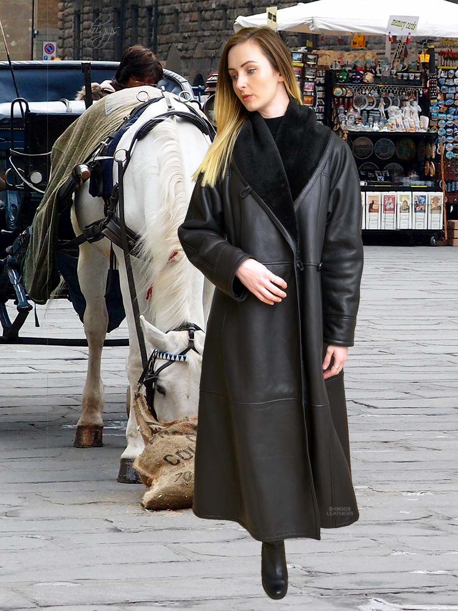 Higgs Leathers {SAVE £300!}  Alicia (Swingback Black Shearling coat)