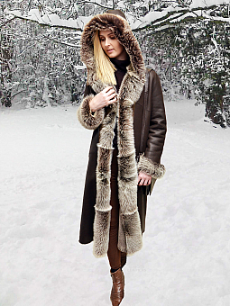 Higgs Leathers ONE ONLY SAVE £300!  Anatolia (ladies hooded Shearling coats)