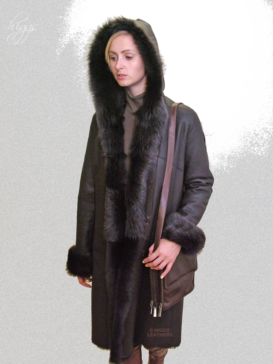 Higgs Leathers Anatolia (ladies hooded Shearling coat)