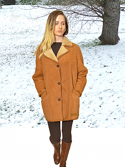 Higgs Leathers NEW - SAVE £100!  Andreana (ladies classic Tan Shearling coat)