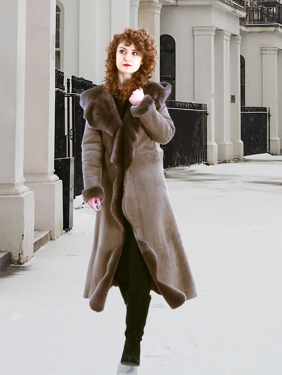 Higgs Leathers {}  Angelique (ladies Hooded Shearling coat) One snowy day, in London town.........