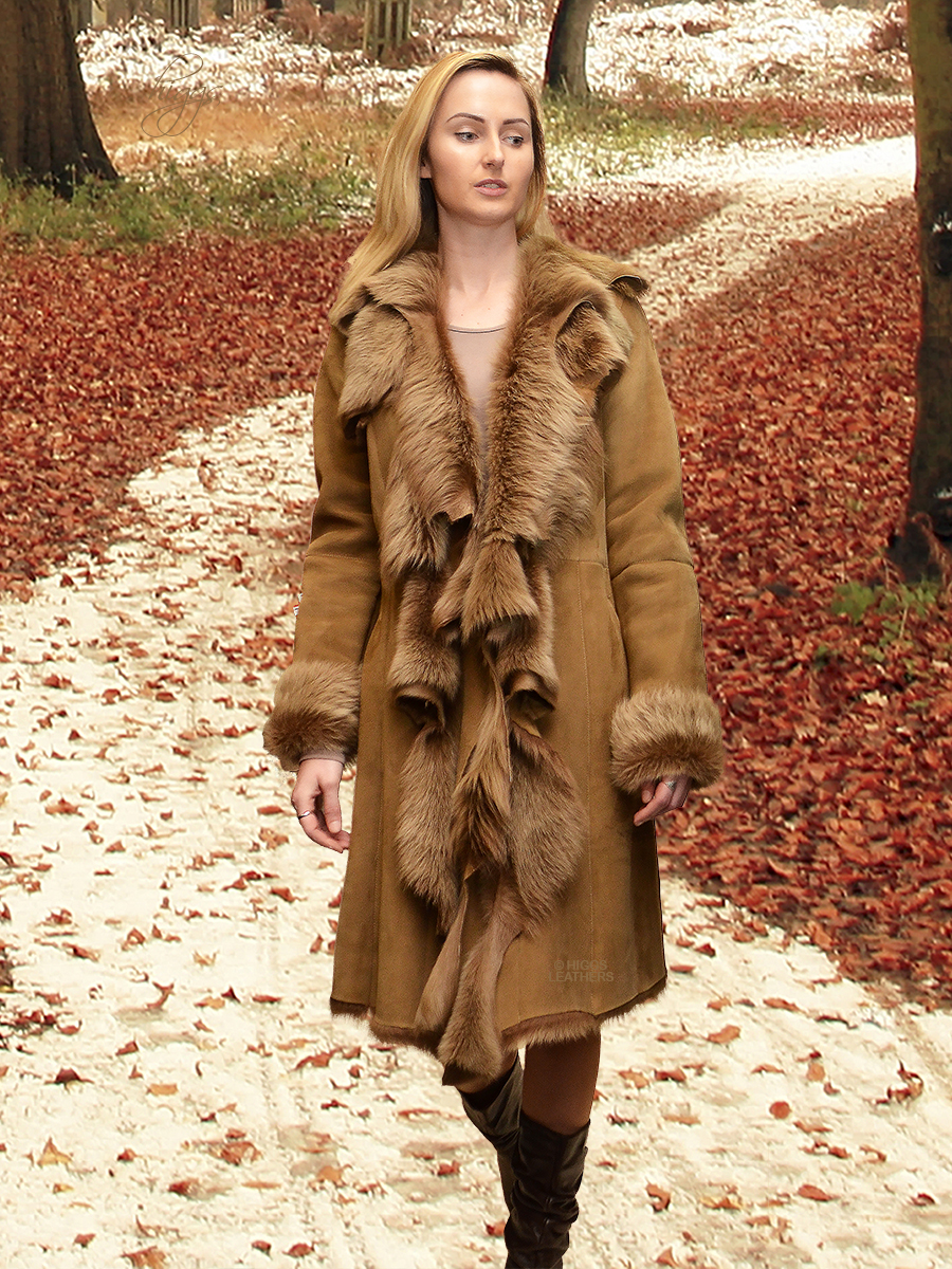 Higgs Leathers {SOLD!}  Anita (ladies Designer style Toscana coat) Fabulous Designer Shearling Dreamcoats!