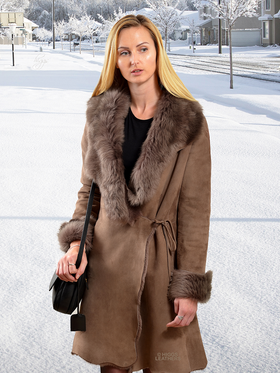 Higgs Leathers {HALF PRICE SAVE £450!}  Antoinetta (ladies Shearling coat) From our wonderful selection of women's Shearling coats!