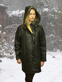 Higgs Leathers NEW!  Davina (womens hooded Shearling coat)
