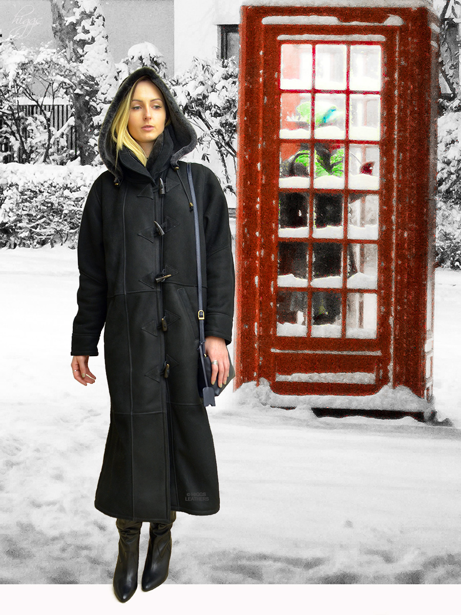 Higgs Leathers {NEW - SAVE £200!}  Debbie (Ladies Black Merino Shearling duffle coat