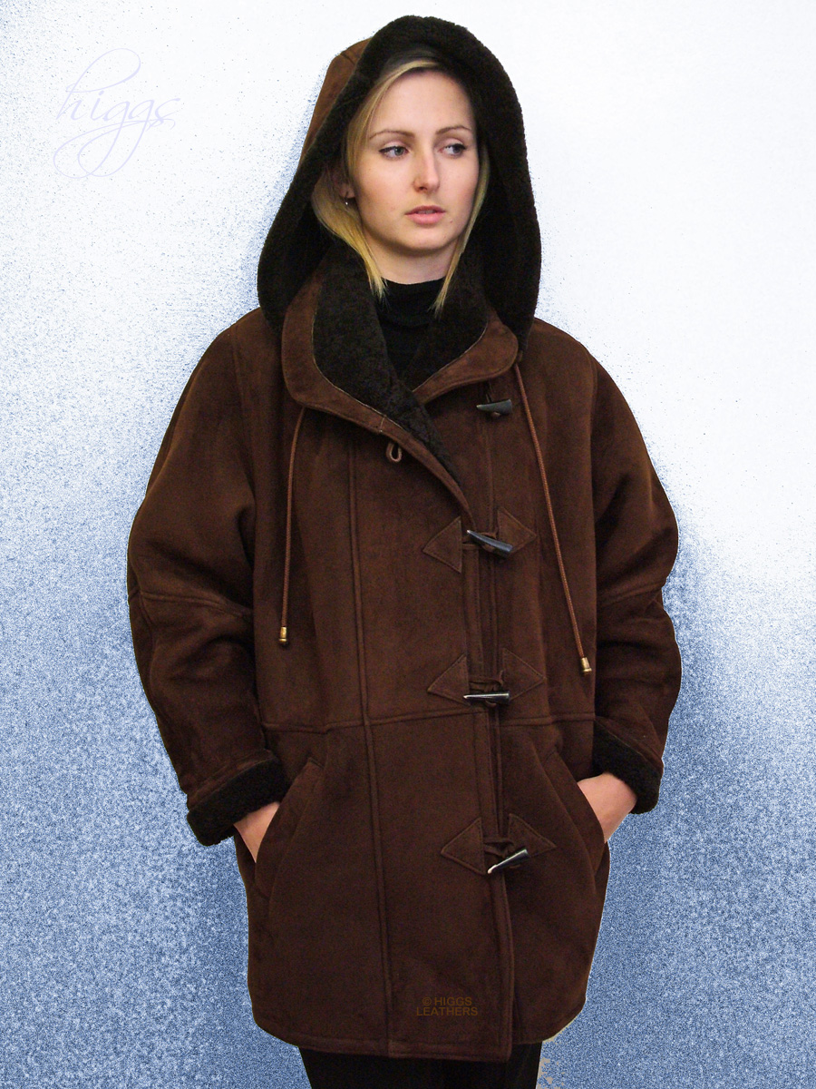 Higgs Leathers {NEW STOCK!}  Debbie (ladies Brown Merino duffle coats)