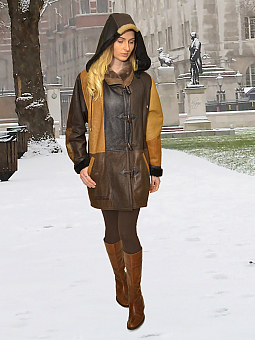 Higgs Leathers ONE ONLY!  Debita (ladies Hooded Shearling Duffle coat)