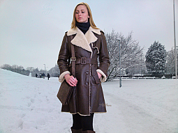 Higgs Leathers ALL SOLD!  Emmaline (ladies Designer Shearling Trench coats