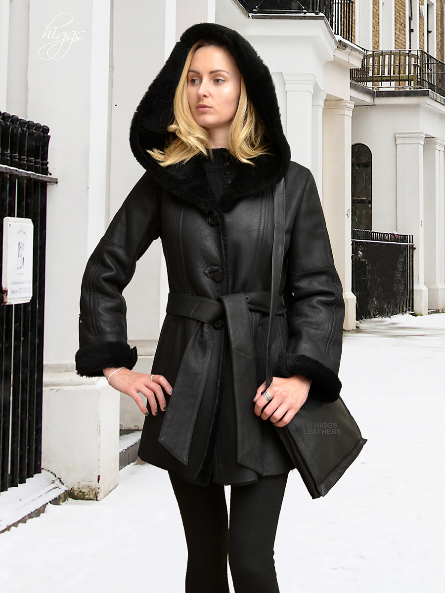 Higgs Leathers   {LAST ONE!}   Hildred (ladies hooded BlackShearling coats Warm, elegant and practical!