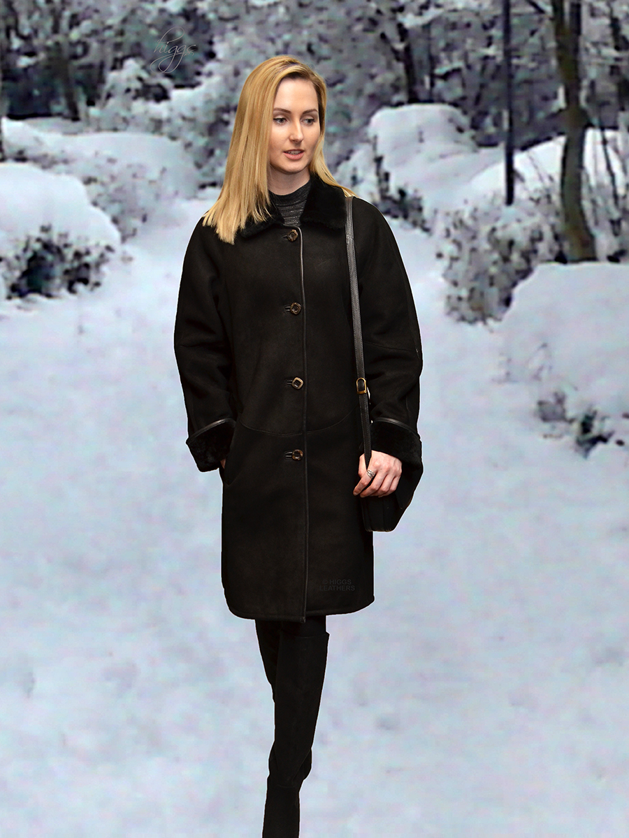 Higgs Leathers {NEW!}  Katie (ladies Black Shearling coats)