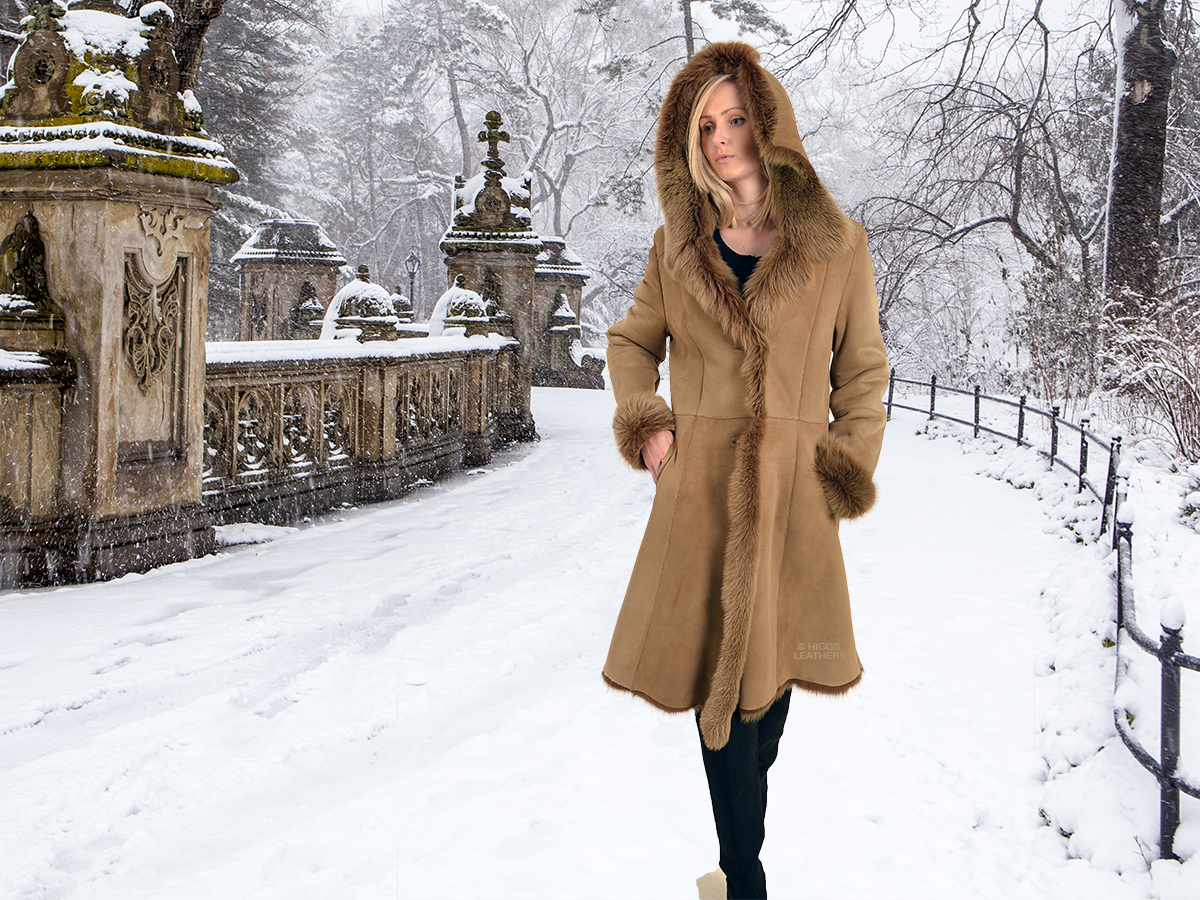 Higgs Leathers {NEW PICTURE!}  Letizia (ladies Hooded Toscana Shearling coat)
