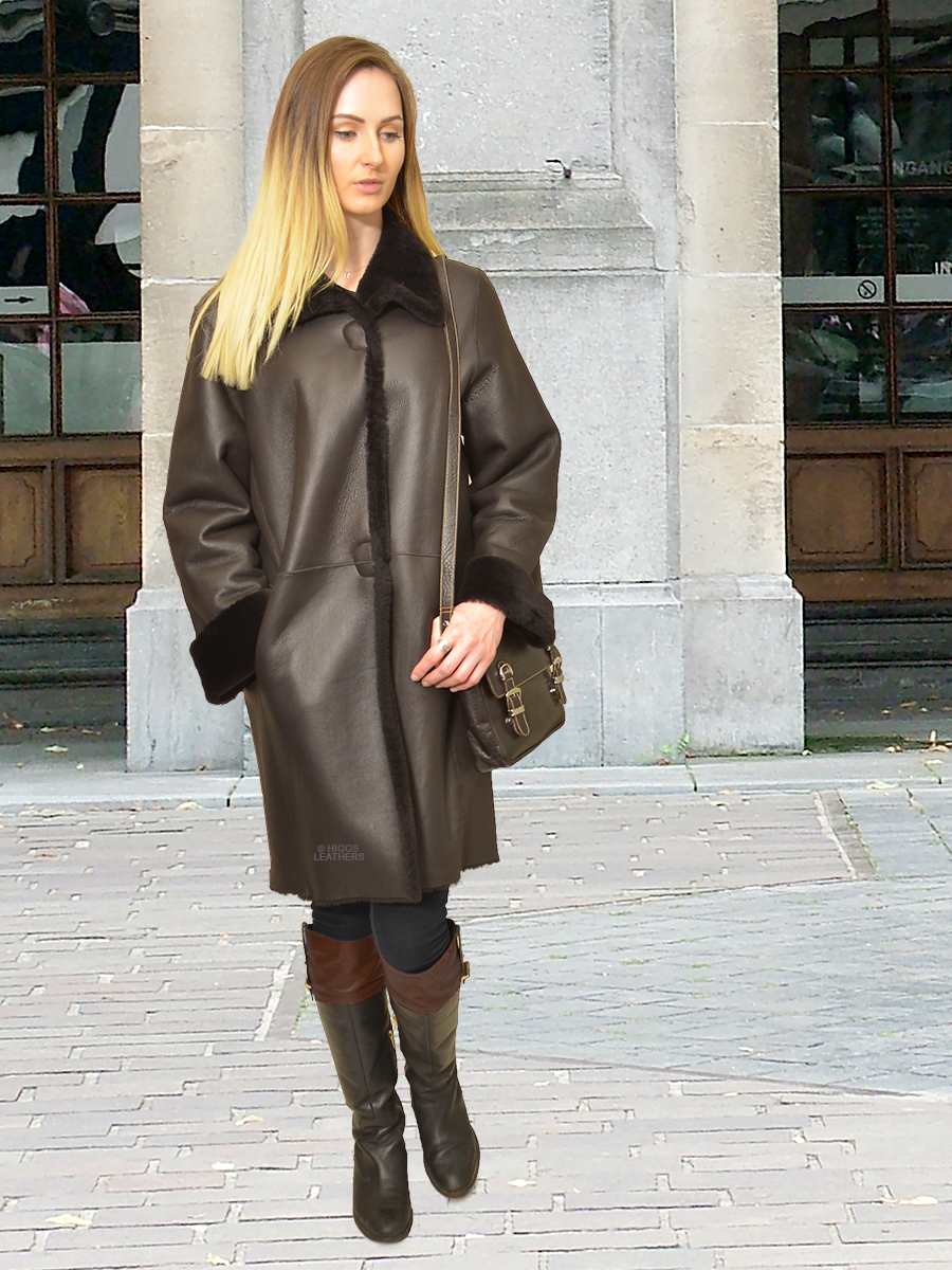 Higgs Leathers {TWO ONLY SAVE £450!} Marlena (ladies Merino Shearling coat)