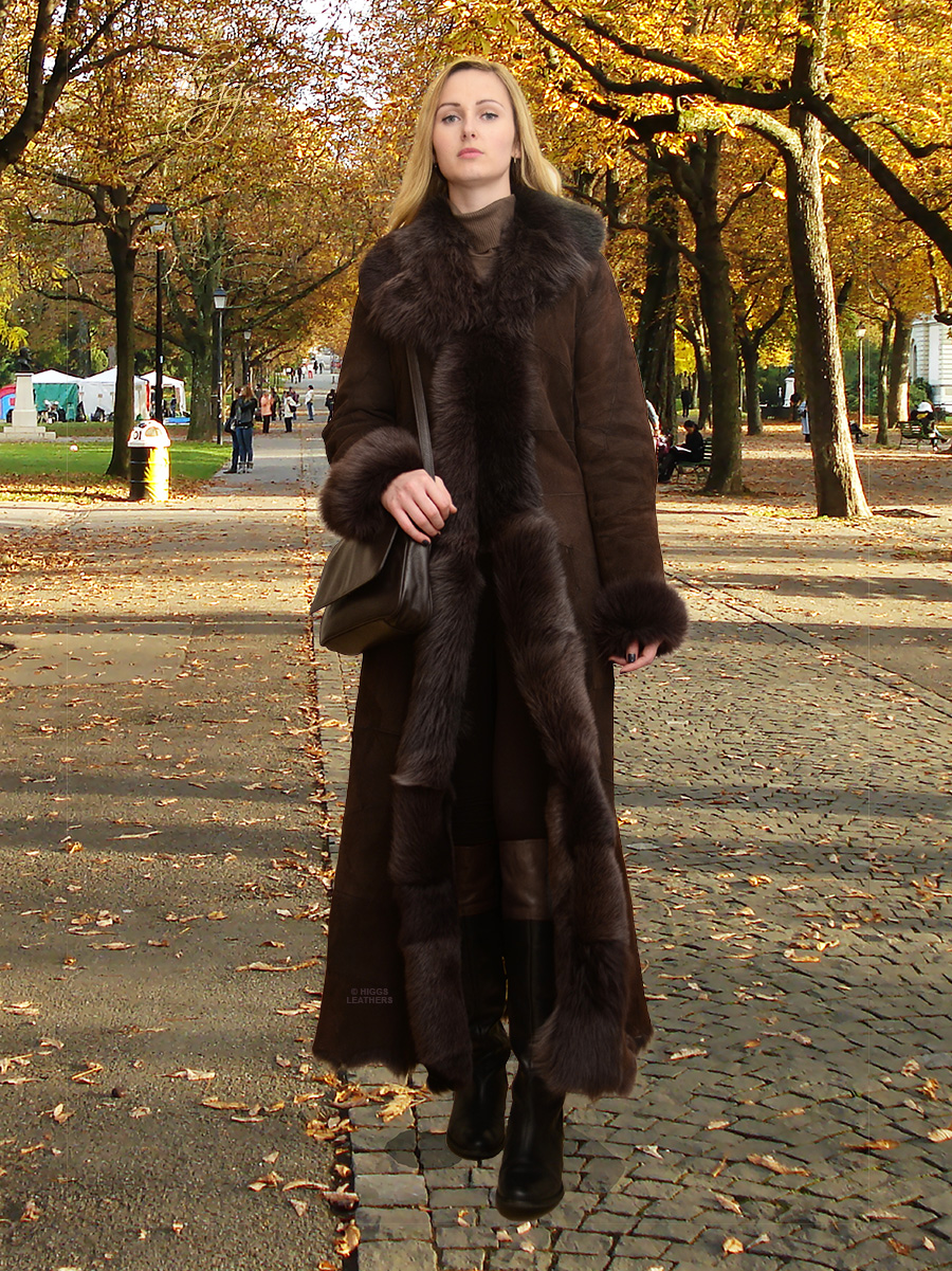 Higgs Leathers Natasha  (ladies Brown Toscana Shearling coat) A VERY special design!