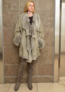 Higgs Leathers PLUS SIZE - SOLD!  Nicola (Grey Mist Toscana Shearling coat)