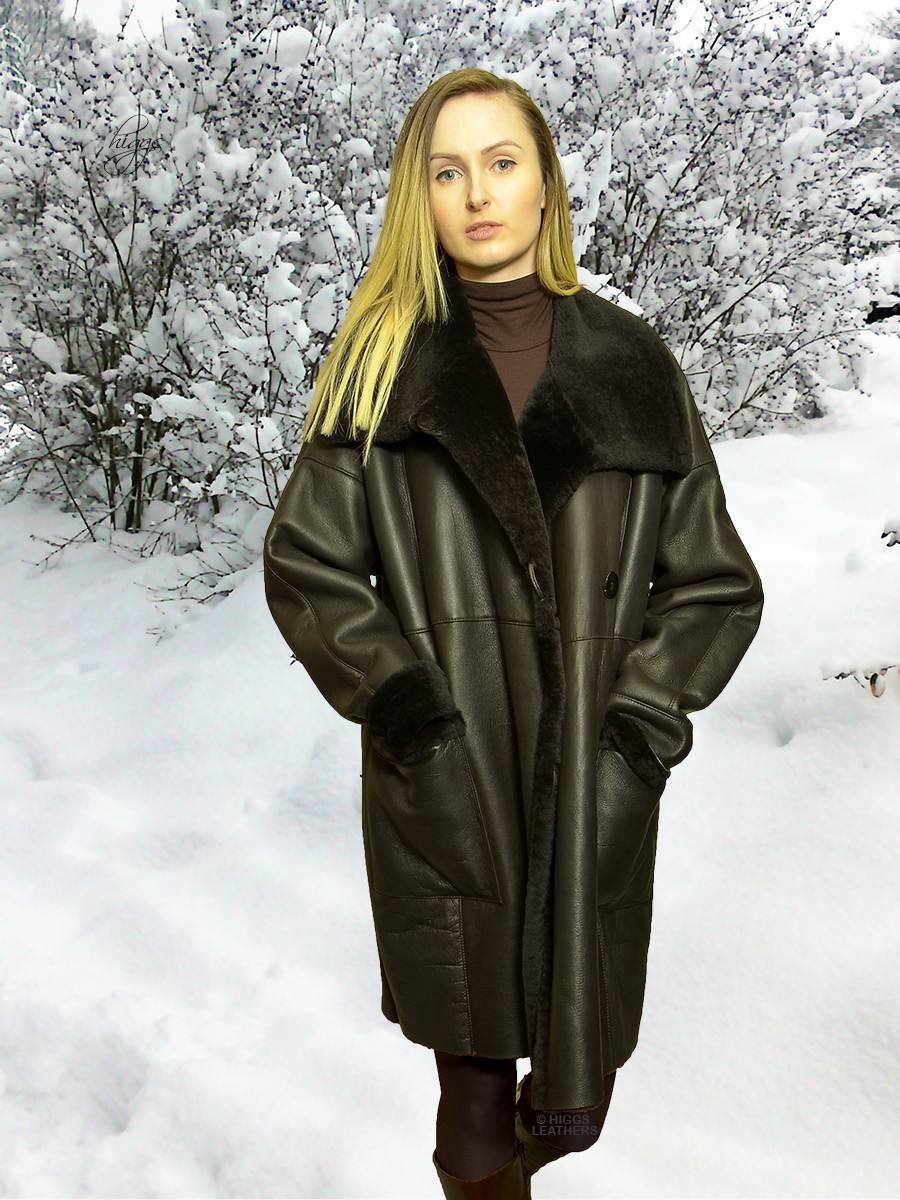 Higgs Leathers {ONE ONLY SAVE £400!}  Siobhan (ladies Merino Shearling 7/8th. coat)